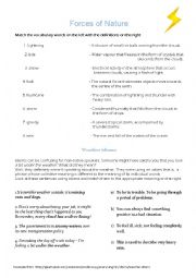 English Worksheet: Weather vocabulary and idioms