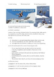 English Worksheet: Storytelling- guided- a parkour competition