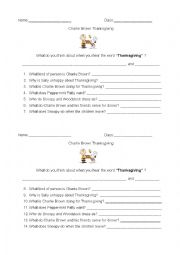 English Worksheet: Charlie Brown Thanksgiving Worksheet