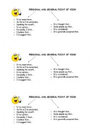 English Worksheet: Expressing point of view