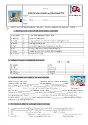 English Worksheet: Vocabulary, grammar and writing Test