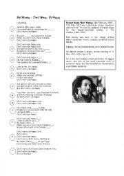 English Worksheet: don´t worry, be happy - Bob Marley