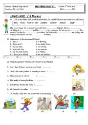 English Worksheet: mid term test n1 for 7th formers