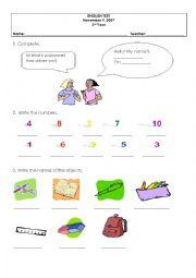 English Worksheet: Test - 3rd grade