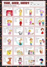 English Worksheet: SHE, HER & HERS - MULTIPLE CHOICE