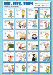 English Worksheet: HE, HIS & HIM - MULTIPLE CHOICE