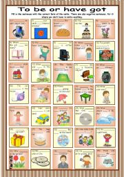English Worksheet: To be or have got * 35 pictures & sentences * with key reuploaded