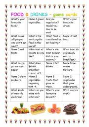 English Worksheet: FOOD - game cards