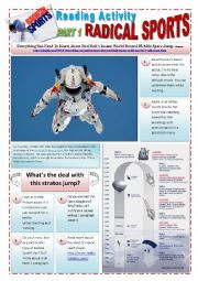 English Worksheet: RADICAL SPORTS - (3 pages) Part 1 of 3 - Reading activity about SPACE JUMP RED BULL´s STRATOS with 16 exercises