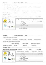 English Worksheet: Can you play rugby? Pair work