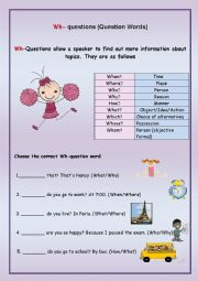 English Worksheet: Wh-Question Words