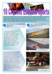 RADICAL SPORTS - (10 pages) Part  3 of  3 - Reading activity about 10 Craziest Extreme sports with 20 Exercises and texts for reading and comprehension