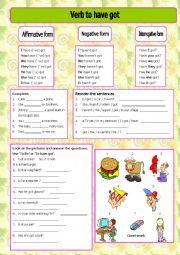 English Worksheet: Verb To have got