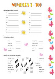 English Worksheet: Numbers 1 - 100