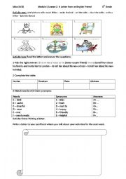 English Worksheet: Module I Lesson 2: A Letter from an English Friend