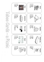 English Worksheet: Taboo Cards - A Picnic
