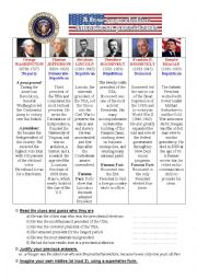English worksheet: A few superlative American presidents (second edition!)
