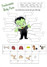 English Worksheet: Parts of the Body - Halloween