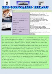 English Worksheet: the unsinkable Titanic