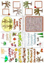 English Worksheet: Seasons and months - mini book