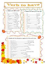English Worksheet: Verb To Have