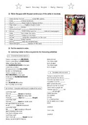 English Worksheet: Song: Last Friday Night (Katy Perry) - Past Continuous