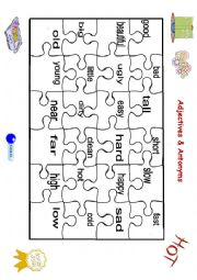 English Worksheet: Adjectives and antonyms puzzle (part 1)