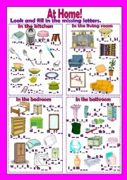 English Worksheet: At home - Home items