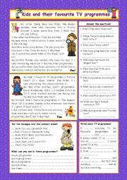 English Worksheet: Kids and their favourite TV programmes (+Key)