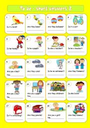English Worksheet: To be - short answers 2