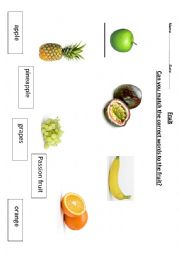 English Worksheet: fruit picture and word match