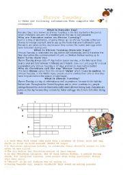 English Worksheet: Shrove Tuesday/Pancake day