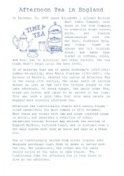 English Worksheet: Afternoon Tea in England