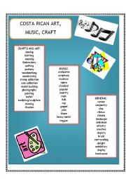 English worksheets costa rican art music craft for Costa rica arts and crafts