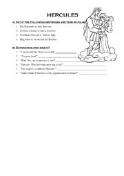 English worksheets: Hercules movie Questions and short answer