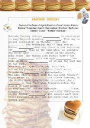English Worksheet: Pancake Tuesday/Shrove tuesday