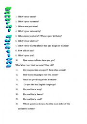 English Worksheet: General questions - adults