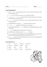 English Worksheet: Illness and treatment + KEY