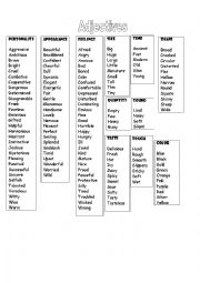 List of adjectives (descriptive)