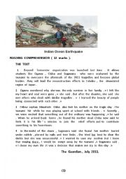 English Worksheet: Indian Ocean  Earthquake
