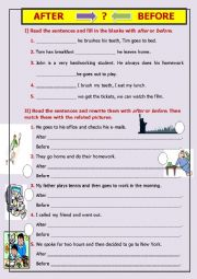 English Worksheet: AFTER-BEFORE