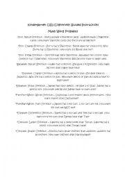 English Worksheet: Word Problems for CGI Math