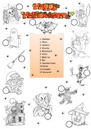 English Worksheet: Halloween - match and colour