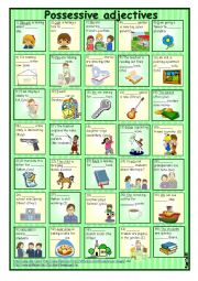 English Worksheet: Possessive adjectives in sentences 2 *** with key ++ reuploaded