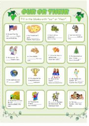 English Worksheet: Our Their