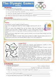 English Worksheet: The Olympic Games - History and London 2012