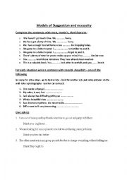 English Worksheet:  modals of suggestion & necessity & obligation