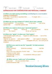 EXPRESSIONS FOR CONVERSATION AND PERSONAL COMMENT