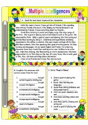 math worksheet : english worksheets multiple intelligences worksheets : Multiple Intelligences Worksheet