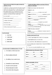 English Worksheet: Elementary (A1 Level) Quick Check Quiz-Group 2